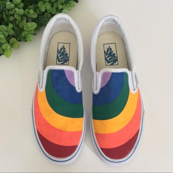 0609d682e5 Vans Rainbow Pride LGBTQ Classic Slip On Sneakers.  M 5b31369d2beb79ce7970e3d4